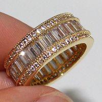белое золото желтый топаз кольцо оптовых-Кольцо ручной работы Radiant White Topaz 14K из желтого золота с бриллиантами, размер 6/7/8/9/10/11