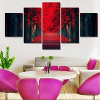 Wholesale red floral wall art - 5 Piece Picture Hot Abstract Beautiful Red Woods Modern Home Wall Decor Painting Canvas Art HD Print Painting For Living Room