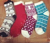 Wholesale Girl Layer Sock - Adults Girls Women Winter Warm Floor Socks Fleece Inside Double Layers Thick Socks Retro Snowflake Christmas Stockings