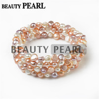 Wholesale Pearl Strands Wedding - 6-7mm Nugget Multicolor White Pink Lavender Freshwater Cultured Pearls Bangle Women Bracelet Wedding Jewelry Perfect Gift