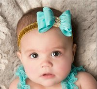 Wholesale Headbands Babies Hard - 16colors Newborn Luxe Hair Bows Matching Glitter Headband Hard Bowknot with Rhinestone For Baby Girls Hair Accessories ESW-108