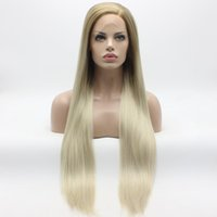 Iwona Hair Straight Extra Long Mel Blonde Root Light Blonde Ombre Wig 22 # 27/613 Half Hand Tied Resistente ao calor Sintético Lace Front Wigs