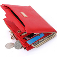 Wholesale Cheap Ladies Leather Wallets - New Small Designer Slim Women Red Wallet Thin Zipper Ladies PU Leather Coin Purses Female Purse Mini Clutch Cheap Womens Wallets