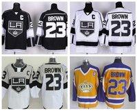 Wholesale Hockey Jerseys La 23 - Los Angeles Kings 23 Dustin Brown Ice Hockey Jerseys LA Kings Stadium Series Throwback Team Color Black White Yellow