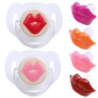 Wholesale funny teeth jokes - 1PC Baby Red Lips Kisses Pacifiers Silicone Silicone Funny Nipple Joke Prank Toddler Teeth Soothers Pacifiers