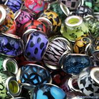 diy pulseras de plástico al por mayor-100 unids color de la mezcla diy ronda suelta resina granos plásticos encantos agujero grande disponible para pandora accesorios europeos pulsera de la joyería del brazalete