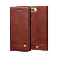 Wholesale Genuine Blackberry Phones - Luxury wallet bag stand retro carzy horse +Lichee Pattern genuine leather case Phone cover for iPhone 7 7plus 6S Plus Flip Leather Case