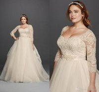 Wholesale Model Bridal - Oleg Cassini Light Champagne Lace Plus Size Wedding Dresses Scoop Neck 3 4 Long Sleeves Covered Buttons 2016 Princess Garden Bridal Gowns