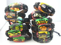 rasta bilezik toptan satış-new 24pcs mixed 12 different styles Bob Marley Rasta Jamaica Reggae pu leather fashion jewelry bracelets