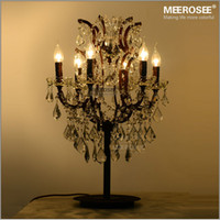 Fer forgé 6 lampes Lampes à table de cristal Antique Retro Crystal Table Light Lighting Salon Chambre à coucher Lumière décorative TD001