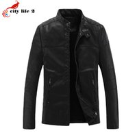 Wholesale Matches Leather Jackets - Fall-Stand Collar All-Match Gentleman Washable PU Leather Jacket 2016 Winter Men's New Outdoor Coat Flocking Plus Size 3XL Black