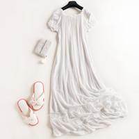 Wholesale Princess Pyjamas - Wholesale- Retro Sweet Princess White Nightgown 100% Cotton Women's Sleepwear Ladies Pijamas Short-Sleeved Nightgown Long Pyjamas Tracksuit