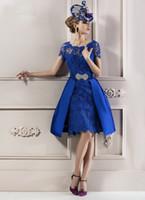Wholesale Elegant Evening Dress Knee - Modest 2016 Elegant Mother Lace Royal Blue Short Sleeves Evening Dress Mother of the Bride Dresses Lace Without Hat