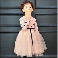 2016 neue Herbst-Mädchen gestrickte Tutu-Kleid-Kind-Tupfen-Winter-lange Hülsen-Strickjacke-Kleid-Kinder Tulle Stitching-Kleid 5pcs Herbst / lot