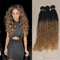 Wholesale Two Toned Human Braiding Hair - Ali Moda Human Hair Weaving remi Braiding Weft 3 Pcs lot Afro Kinky Jerry Curl Two Tone Brazilian Nature Hair Ombre Curly Weave 3,4,5pcs lot