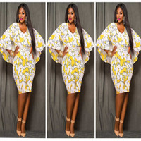Wholesale Evening Dress Shawls - Cloak Print Dress Women 2016 O-Neck Flare Sleeve Chiffon Shawl Autumn Sweet Dress Sexy Women Plus Size Evening Dress L-3XL