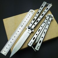 Wholesale Practice Balisong - Top quality knives butterfly balisong knifes fixed blades italian stiletto knife CS GO infide automatic Top Knifes Lotus Practice knifes