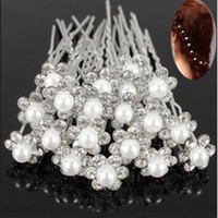 Wholesale Crystal Flower Heads - 20Pcs Wedding Bridal Pearl Flower Crystal Hair Pins Clips Bridesmaid hairband Head band headband jewelry headwear accessories