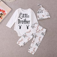 Wholesale Long Sleeve Set Kids - hot sale baby girl suits Newborn kids Boys girls Little brother Deer Tops Romper Babygrows Long sleeve jumpsuit+Pants+Hat cotton Outfits Set