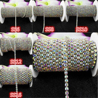 Wholesale crystal ss18 - 10yards roll ss6-ss18 Clear ab rhinestones Crystal glass Rhinestone chain Compact Silver chain for phone,cups,mouse,applique
