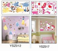 Wholesale Snow White Wall Stickers - New Hello Kitty Removable Plane Wall sticker Snow White Decor Sticker For Bedroom TV Background Wall Sticker Kids Toys DIY Plastic Sticker