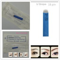 Wholesale makeup for eyebrows - Wholesale-50 PCS 18 Pin U Shape Tattoo Needles Permanent Makeup Eyebrow Embroidery Blade For 3D Microblading Manual Tattoo Pen