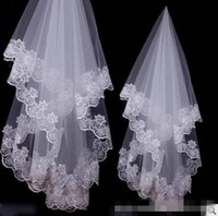 Wholesale Lace Stockings For Girls - In Stock Free Shipping Charming Cheap Girls Wedding Bridal Accessories Veil For Wedding Lace White Ivory Color Hot Sale Charming Top 2016