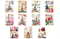 Barato Bolsa Inteligente De Couro Pu-3D Retro Paris Torre Eiffel Stand PU Leather Case Big Ben Flor dobrável Pouch London Smart Cover Para Ipad Pro 9.7 '' polegadas tablet pele Luxo