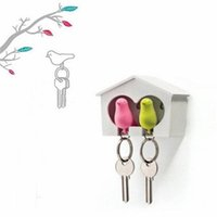 Wholesale Birdhouse Key - Hot New Couple Whistle Lover Sparrow Key Ring Keychain Birdhouse Gadget Bird Wall Hook Holder Decor