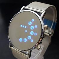 relógios de pulso bangles venda por atacado-Moda Legal Homens Relógio Relógio Homem De Ferro Azul LED Relógios De Luxo De Aço Inoxidável Binário Pulseiras Pulseiras relógio de Pulso presente