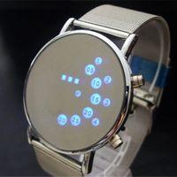 hombre de hierro fresco al por mayor-Reloj de los hombres de la manera fresca de moda Iron Man LED azul Relojes Pulseras binarias de lujo de acero inoxidable brazaletes de regalo de pulsera