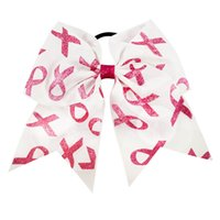"""Wholesale Print Ribbon For Baby - 15 Pcs lot 7"""" New Fashion Handamde Breast Cancer Awareness Glitter Cheerleading Bows for Girls Kids Boutique Ribbon Hair Bow Baby Headwear"""
