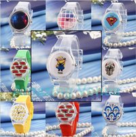 Wholesale Doraemon Girls Watches - Cute Clear Fashion Clear Soft Jelly Rubber Quartz Minions Superman Doraemon Hello Kitty Wrist Watch for Women Girl Boy Student