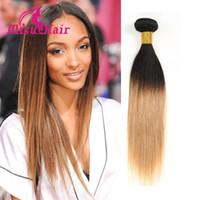 Wholesale Extensions 27 - Ombre Brazilian Body Wave Hair Extensions 8A Grade Brazilian Human Hair Weave Bundles Black & Blond 1b 27 Hair Bundles