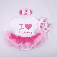 Wholesale Champagne Colour Shoes - baby girl toddler 3piece set outfits I love mummy princess Number 1 crown romper tutu diaper covers Lace dress golden + bow headband + shoes