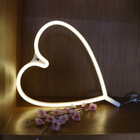 White Love Heart LED Neon Sign Wall Neon Light, LED Interior Decor Luminárias noturnas, bateria e USB Power Neon Light Sign