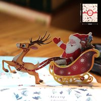 Wholesale Paper Cutting Christmas Greeting Card - Hot Merry Christmas Deer Car Vintage 3D laser cut pop up paper handmade custom Creative greeting Cards Christmas gifts souvenirs postcards