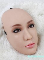 Wholesale Sexy Female Masks - (CM291)Handmade Silicone Sexy And Sweet Half Female Face Ching Crossdress Mask Crossdresser Doll