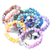 botões de pressão diy jóias venda por atacado-10 Estilos Snap Botão Natural Stone Beads Pulseira Pulseira Fit 18mm Botão Snap Ginger DIY Noosa Charme Jóias Presente Dos Namorados B826L
