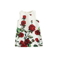 Wholesale rose zip - Prettybaby Rose flower printing sleeveless sundress girls rural style zip back princess dresses European Style brand dress Pt0441#