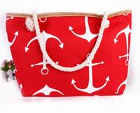 Wholesale Boat Canvas Zippers - DHL Free 10pcs lot Classical Women Ladies Fashion Boat Anchor Canvas Shoulder Bag Stripes New Messenger Bag Summer Beach Handbag Bags Totes