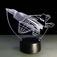 Wholesale Plane Usb - Fighter Plane 3D Optical Illusion Lamp Night Light DC 5V USB Charging AA Battery Wholesale Dropshipping Free Shipping Retail Box