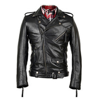 Wholesale Fall Men Genuine Leather Jacket Real Calf Cow Skin Fashion Casual Star Style Punk Rock Motorcycle Biker Coat Winter