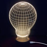 Wholesale Wood Base Led Light - Hot selling Amazing 3D Optical Illusion LED Table Lamp Atmosphere Lighting Novelty With Wood Base Bulb shape