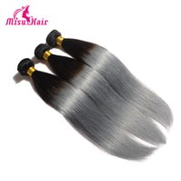 Wholesale Indian Hair Wigs Wholesalers - Straight Virgin Hair Two Tone Color Wigs Ombre 1B Grey Hair Extensions Brazilian Malaysian Indian Peruvian Hair Wefts
