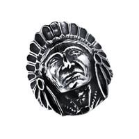 amerikanische indische schmuck männer großhandel-ZHF SCHMUCK 2016 Neue Ankunft VINTAGE INDIAN CHEF index fingerringe titanium ring American punk trendsetter männer FGJ484