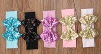 Wholesale Wholesale Cheap Hair Ties - Cheap newborn baby shiny hat, fashion elastic ribbon with sequins hair bow, Sequin Bowknot Stripe Cotton knot headband, glitter hair tie
