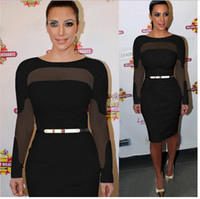 Wholesale Long Sleeved Pencil Dresses - H&F 2016 Women Winter Spring Sexy Mesh Patchwork Bodycon Dress Long-sleeved Office Pencil Dresses Lady Party Dress x0171