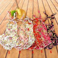 Wholesale Infant Cute Romper Designs - Cute Infant Baby Kids Floral Print Rompers Multi Color Halter Design Cotton Romper Sweet Toddler Baby Children Clothing