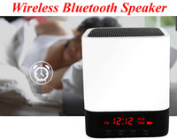 Wholesale Audio Input Iphone - Portable Wireless Bluetooth speaker Stereo Speaker Support AUX Audio Input+ Handsfree Call +LED Shinning+Time Alarm Clock speaker for iphone